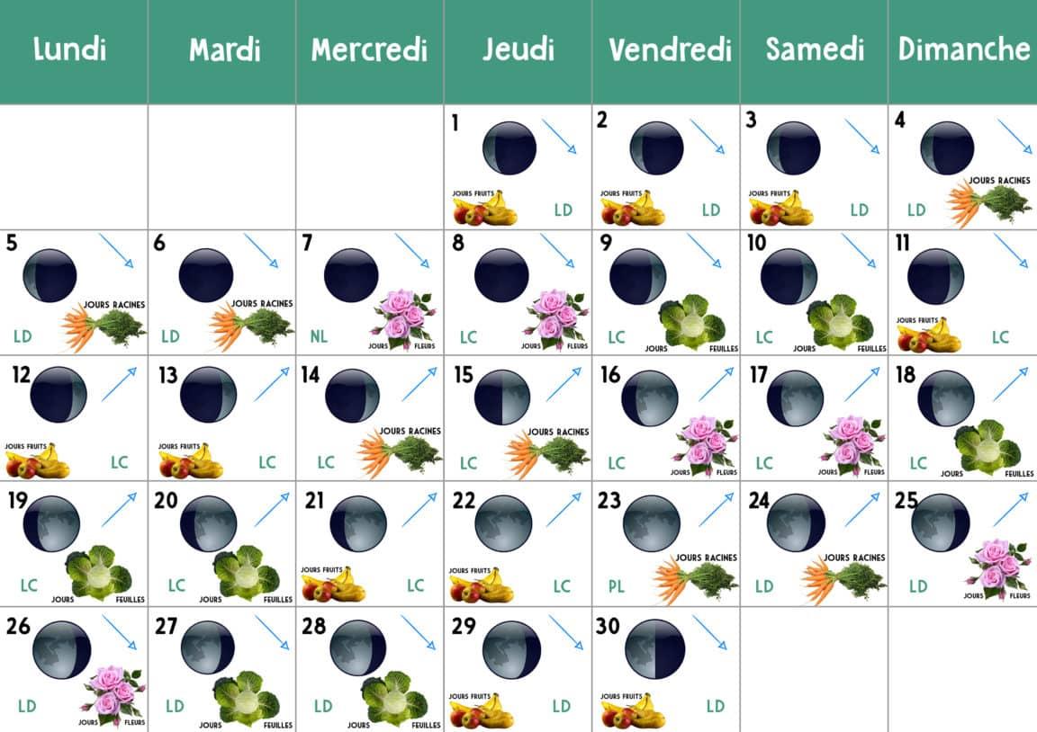 calendrier lunaire novembre 2018