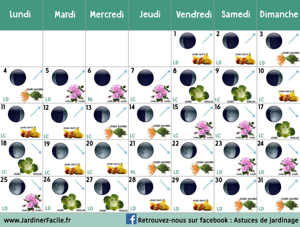 Calendrier lunaire Mars 2019