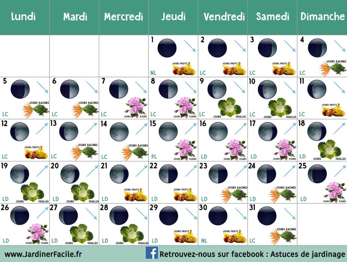 Calendrier lunaire Aout 2019