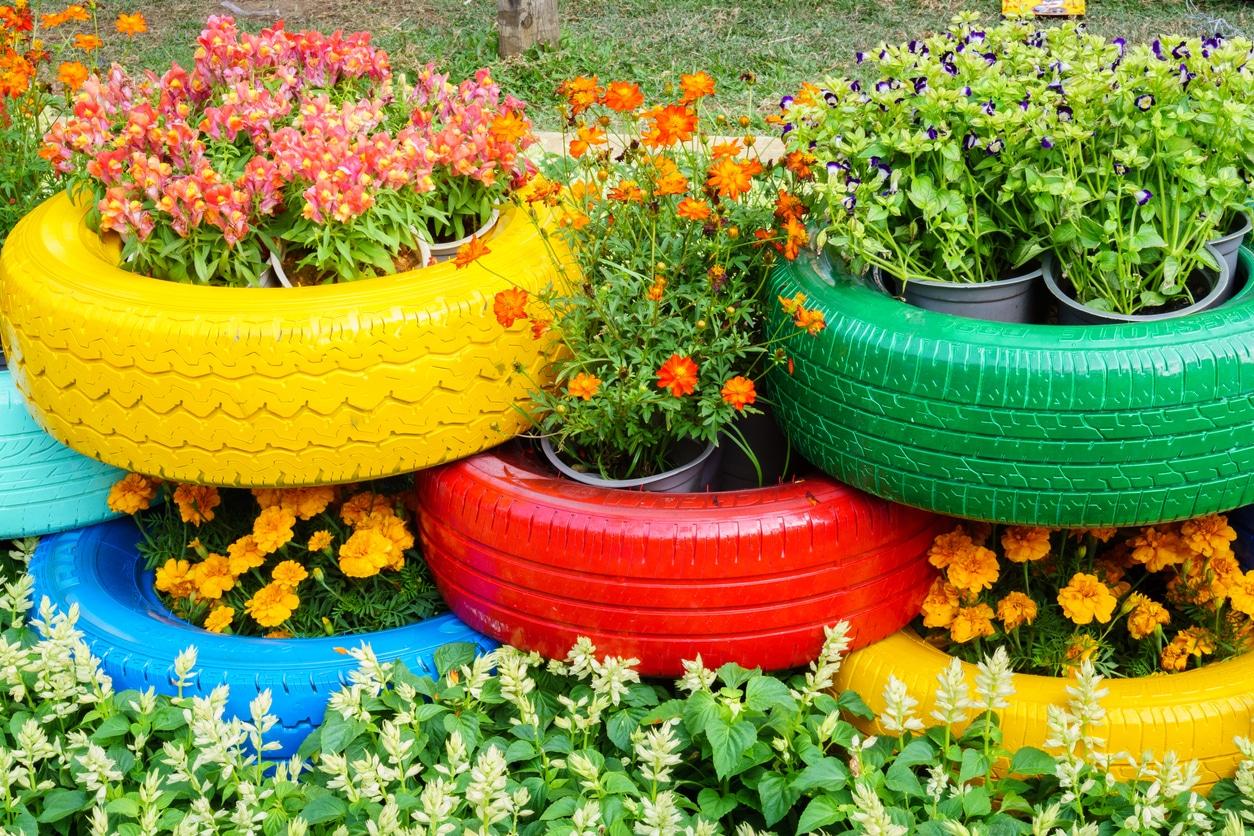 mobilier jardin pneu fleur couleur