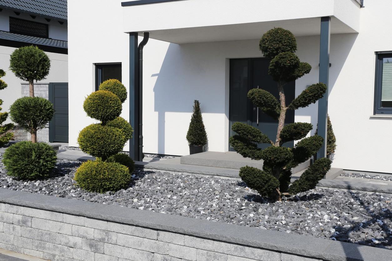 jardin moderne gravier art topaire