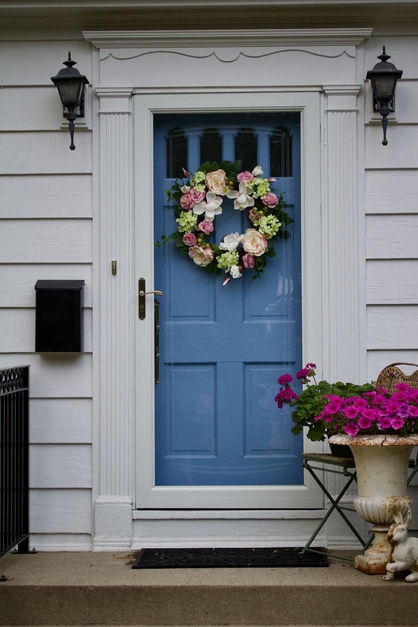 porte entree couronne fleurs