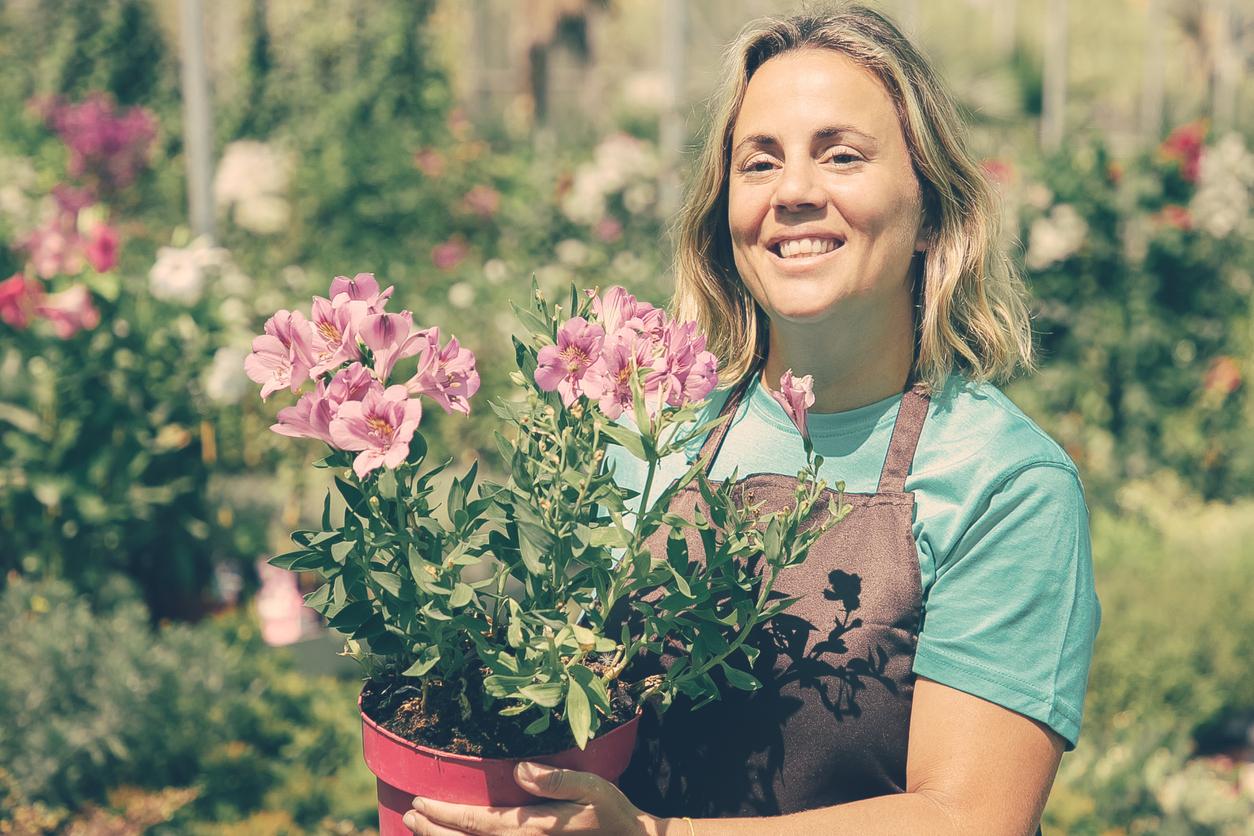 jardinage femme jardinière pot de fleurs