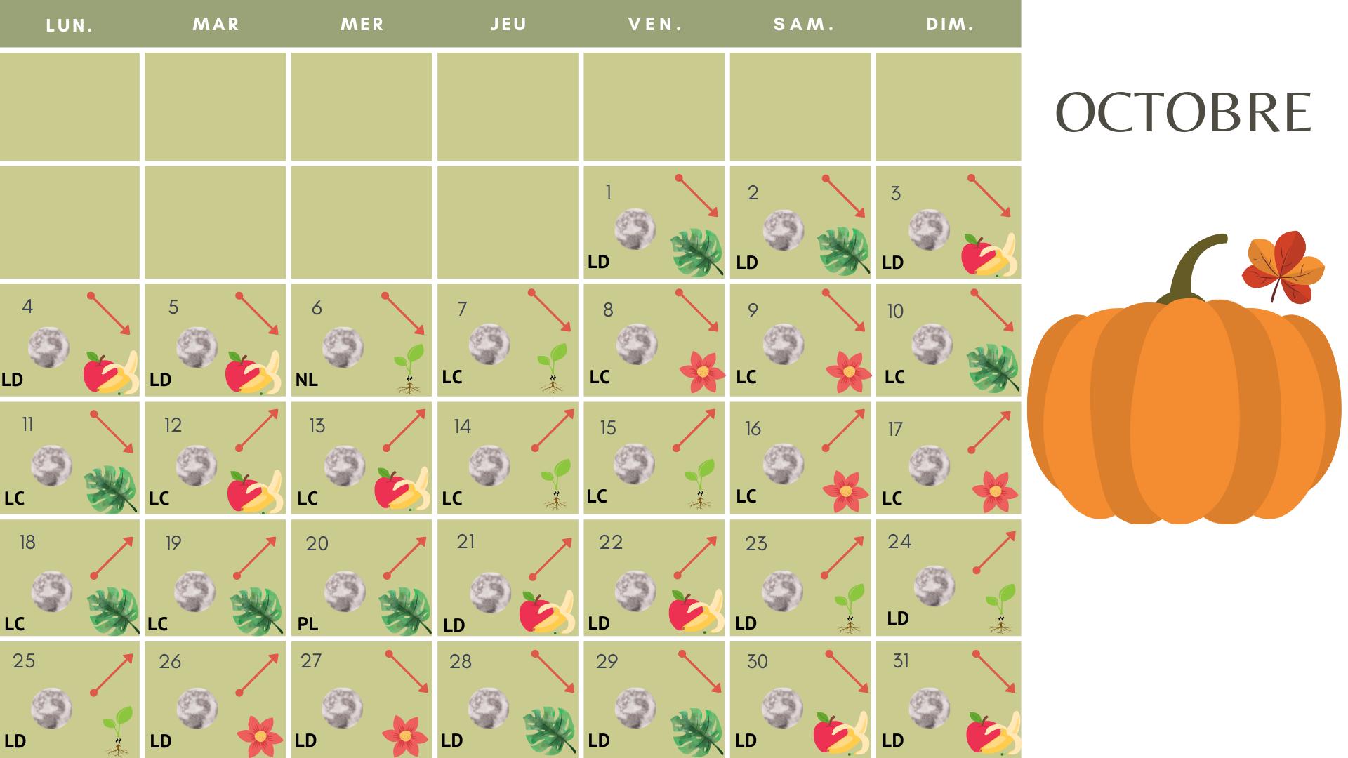 calendrier lunaire Octobre 2021